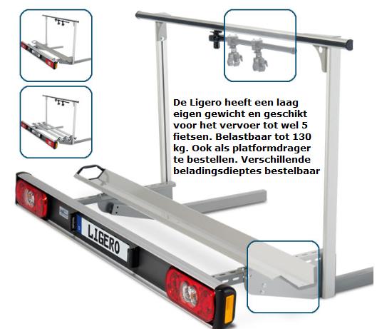 De Ligero tot 130 kilo belastbaar vervoer tot wel 5 fietsen, diverse opties verkrijgbaar