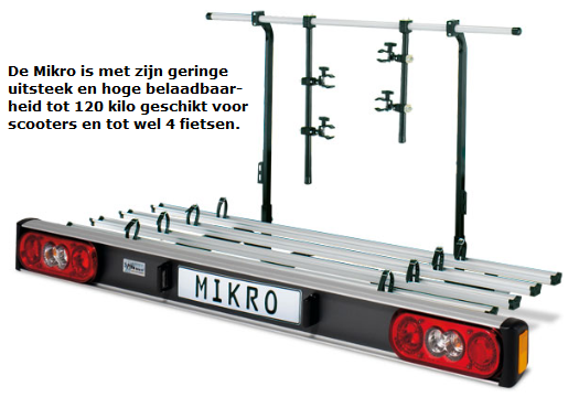 De Mikro tot 120 kilo belastbaar geringe uitsteek en tot wel 4 fietsen